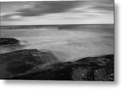 Sea Foam Black And White Metal Print by Lourry Legarde