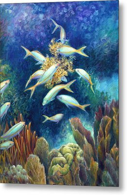 Sea Food Chain - Feeding Frenzy Metal Print by Nancy Tilles