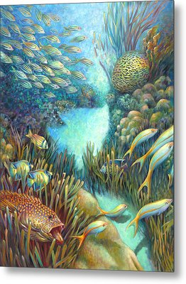 Sea Food Chain - Stalker Metal Print by Nancy Tilles
