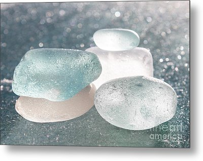 Sea Glass Aqua Shimmer Metal Print by Barbara McMahon