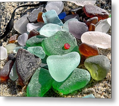 Sea Glass In Multicolors Metal Print by Janice Drew