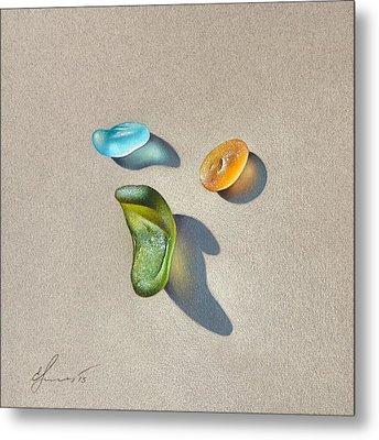 Sea Glass - Trio Metal Print by Elena Kolotusha