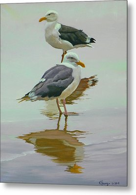 Sea Gulls Metal Print by Kenneth Young