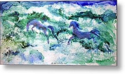 Metal Print featuring the painting Sea Horses by Joan Hartenstein