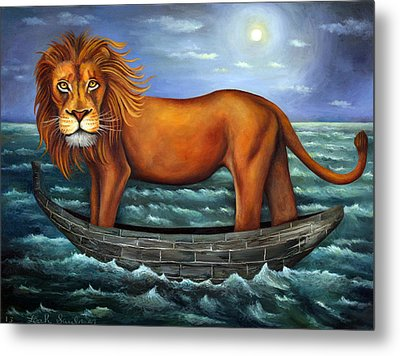 Sea Lion Bolder Image Metal Print by Leah Saulnier The Painting Maniac