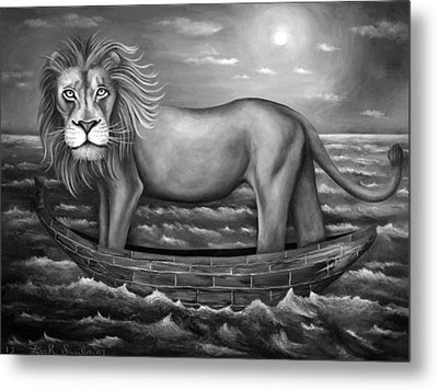 Sea Lion In Bw Metal Print by Leah Saulnier The Painting Maniac