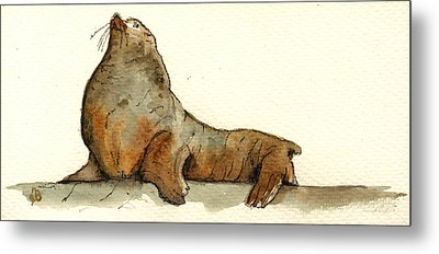 Sea Lion Metal Print by Juan  Bosco