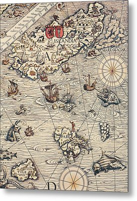 Sea Map By Olaus Magnus Metal Print by Olaus Magnus