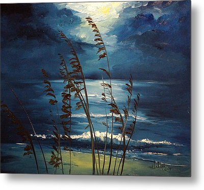 Sea Oats And Moonlight Metal Print