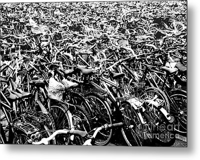 Metal Print featuring the photograph Sea Of Bicycles 3 by Joey Agbayani