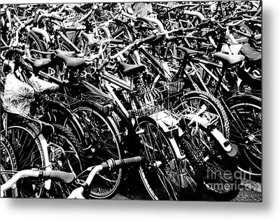 Metal Print featuring the photograph Sea Of Bicycles 2 by Joey Agbayani