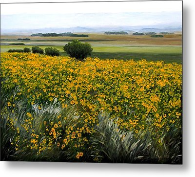 Sea Of Sunflowers Metal Print