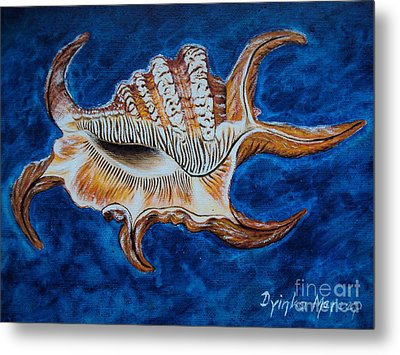 Sea Shell Original Painting Oil On Canvas No.3. Metal Print by Drinka Mercep