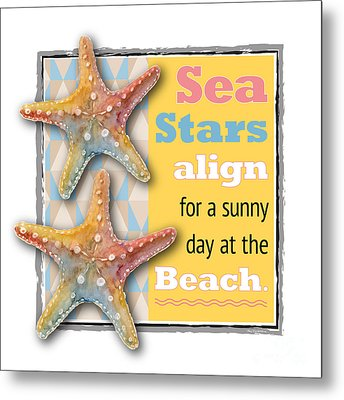 Sea Stars Align For A Sunny Day At The Beach. Metal Print
