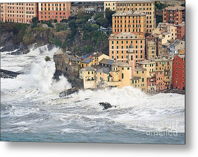 Metal Print featuring the photograph Sea Storm In Camogli - Italy by Antonio Scarpi