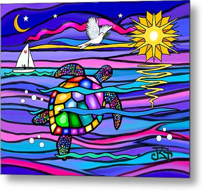 Sea Turle In Blue And Pink Metal Print by Jean B Fitzgerald