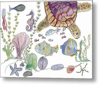 Metal Print featuring the painting Sea Turtle And Fishies by Helen Holden-Gladsky