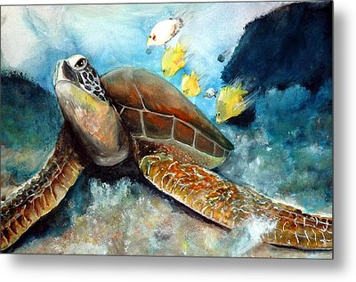 Metal Print featuring the painting Sea Turtle I by Bernadette Krupa