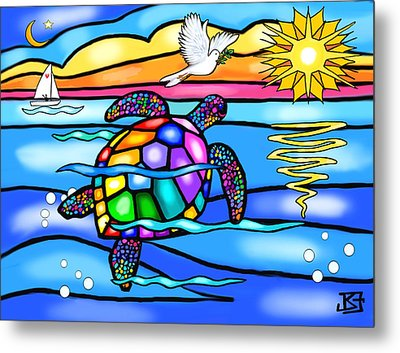 Sea Turtle In Turquoise And Blue Metal Print by Jean B Fitzgerald