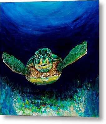 Sea Turtle Metal Print by Jean Cormier