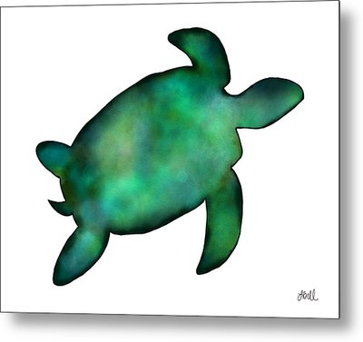 Metal Print featuring the painting Sea Turtle by Laura Bell