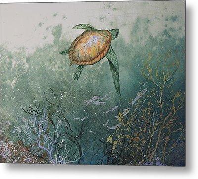 Sea Turtle Metal Print by Nancy Gorr