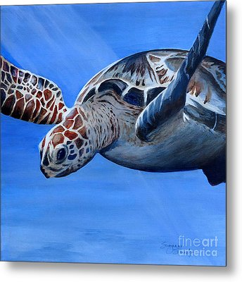 Sea Turtle Near Maui Metal Print by Suzanne Schaefer