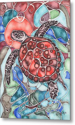 Sea Turtle Metal Print by Tamara Phillips