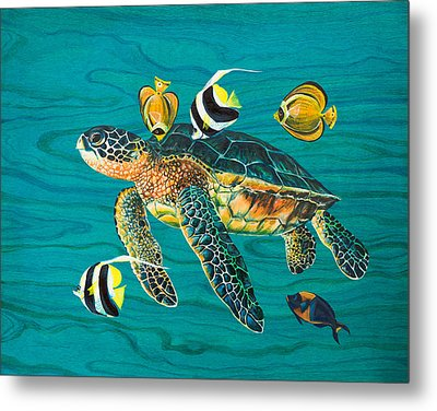 Sea Turtle With Fish Metal Print by Emily Brantley