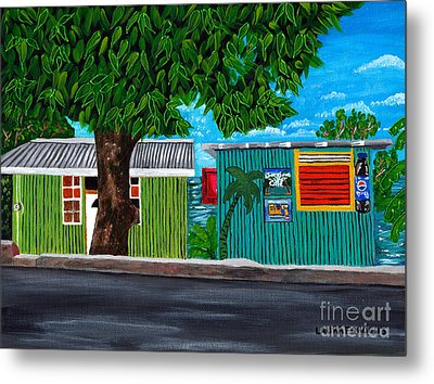 Sea-view Cafe Metal Print by Laura Forde