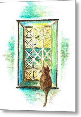 Curiosity - Cat Metal Print by Teresa White