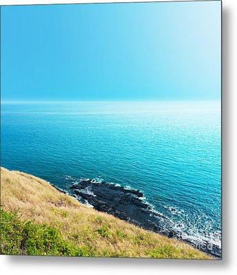 Sea Views From Cliffs Metal Print by Atiketta Sangasaeng