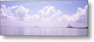 Sea With A Container Ship Metal Print by Panoramic Images