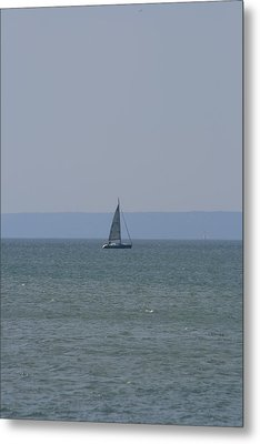 Sea Yacht  Land Sky Metal Print