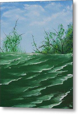 Seafoam Surf Metal Print