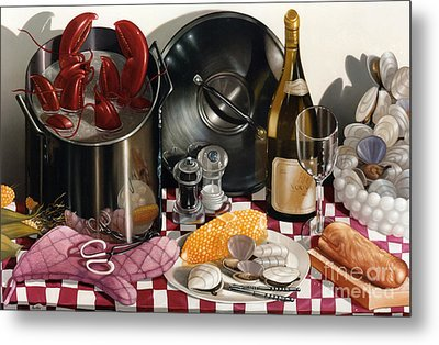 Seafood Serenade 1996  Skewed Perspective Series 1991 - 2000 Metal Print by Larry Preston