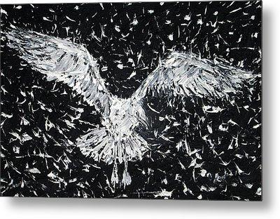 Seagull - Oil Portrait Metal Print by Fabrizio Cassetta