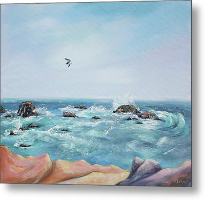 Seagull Over The Ocean Metal Print by Asha Carolyn Young