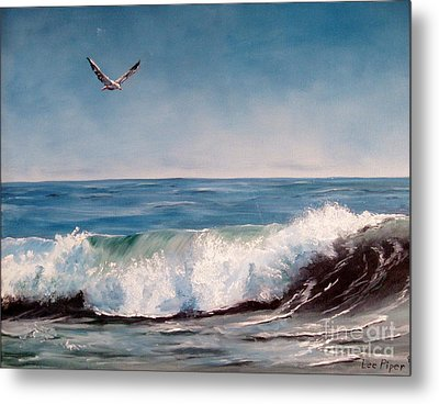 Seagull With Wave  Metal Print by Lee Piper