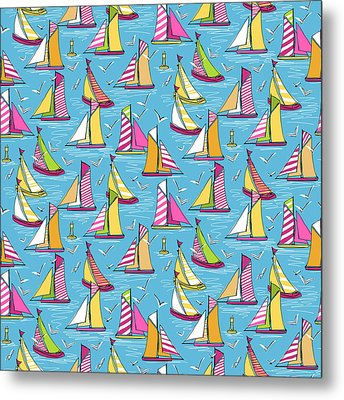 Seagulls And Sails Springtime Metal Print by Sharon Turner