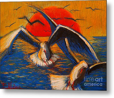 Seagulls At Sunset Metal Print by Mona Edulesco