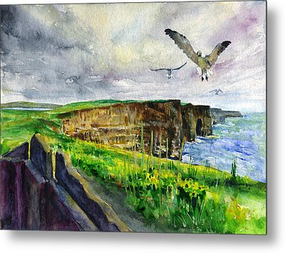Seagulls At The Cliffs Of Moher Metal Print