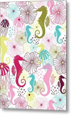 Seahorse Flora Metal Print