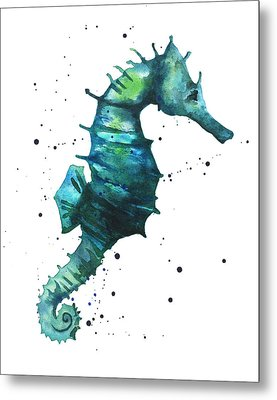 Seahorse In Teal Metal Print by Alison Fennell