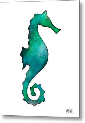 Metal Print featuring the painting Seahorse by Laura Bell