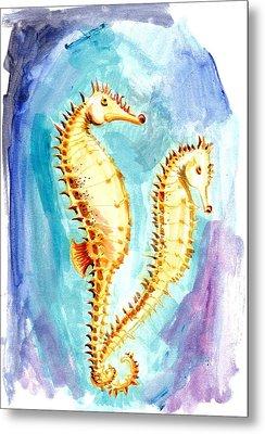 Seahorse Love Marine Watercolor Metal Print by Tiberiu Soos