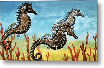 Seahorses Metal Print by English School