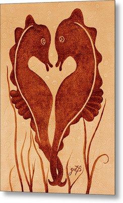 Seahorses Love Dance Original Coffee Painting Metal Print