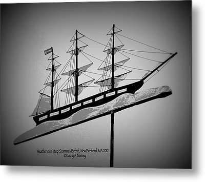 Metal Print featuring the photograph Seaman's Bethel Weathervane  by Kathy Barney