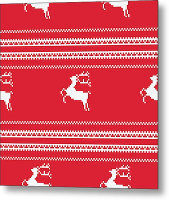 Seamless Christmas Pattern Metal Print by Mike Taylor